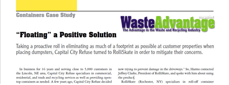 Waste Advantage Magazine The Benefits of RolliSkate System